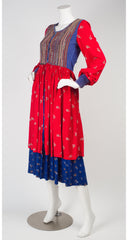 1970s Kuchi-Style Embroidered Floral Cotton & Velvet Dress
