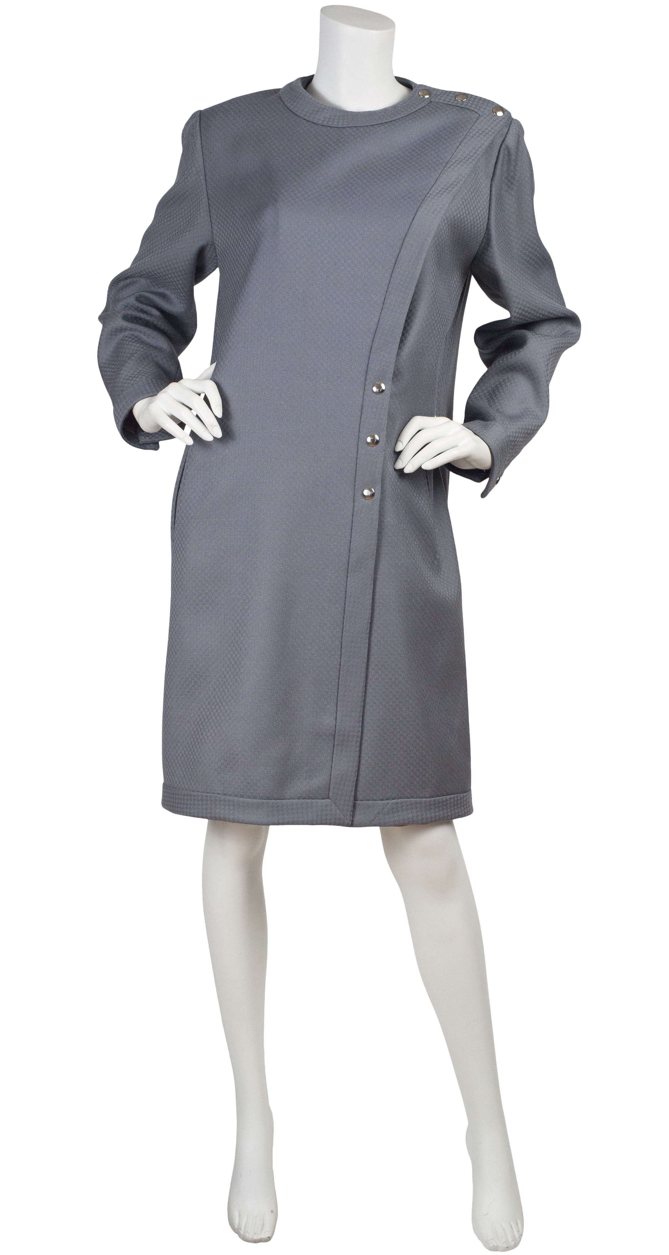 1980s Gray Check Wool Snap Coat Dress