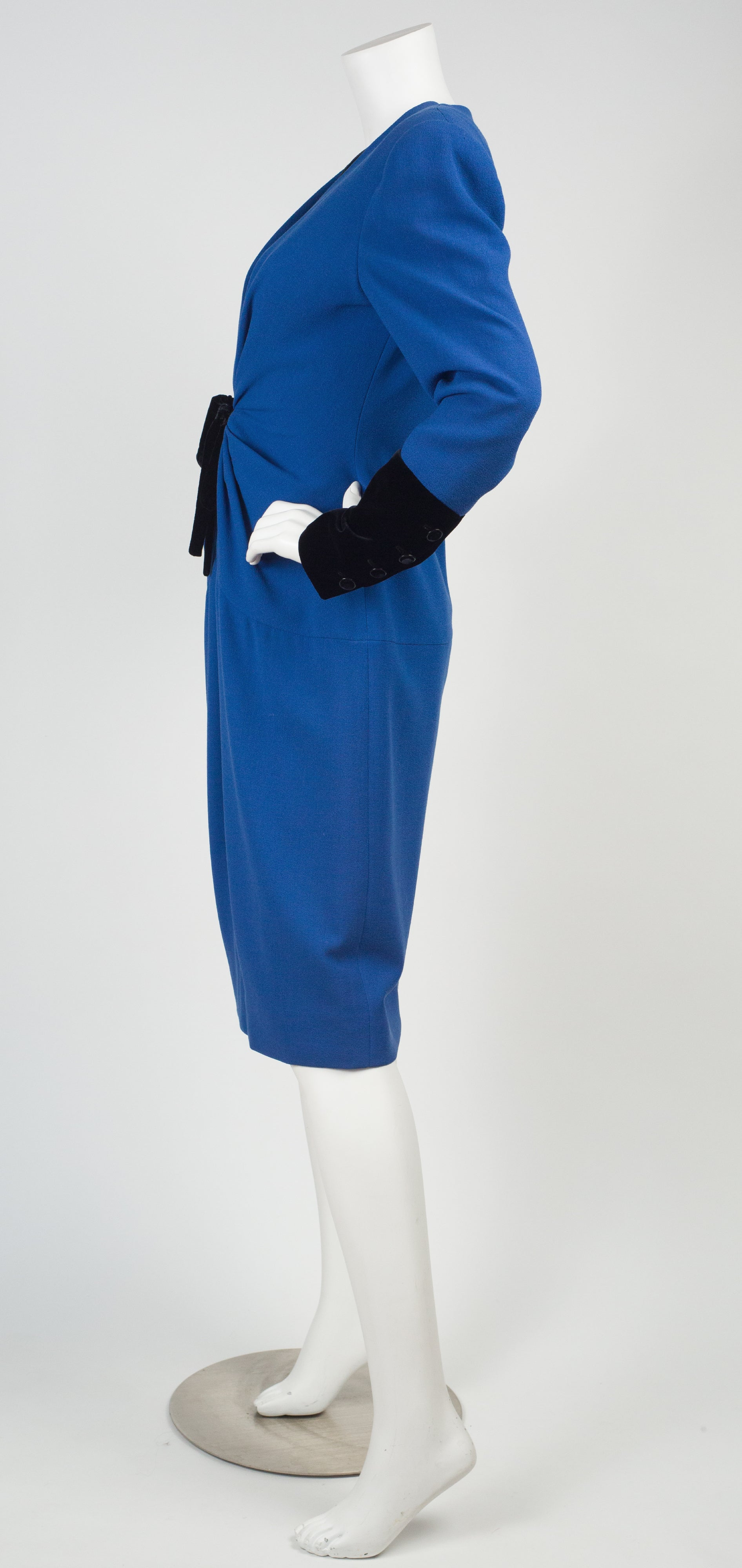 1980s Blue Wool Crepe & Black Velvet Evening Dress