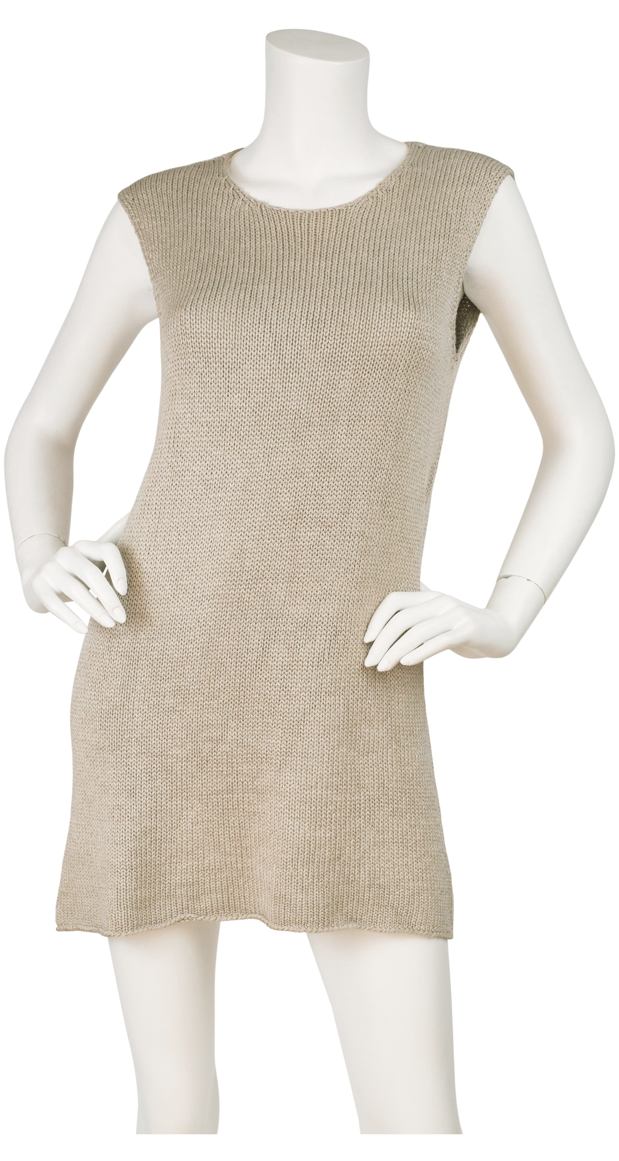 1999 S/S Taupe Silk Knit Sleeveless Top