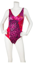 1980s Floral Cheetah One Piece Swimsuit