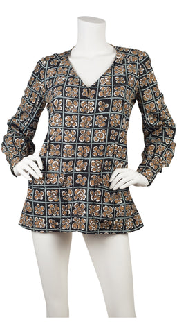 c. 1971 Floral Pop Art Silk Blouse