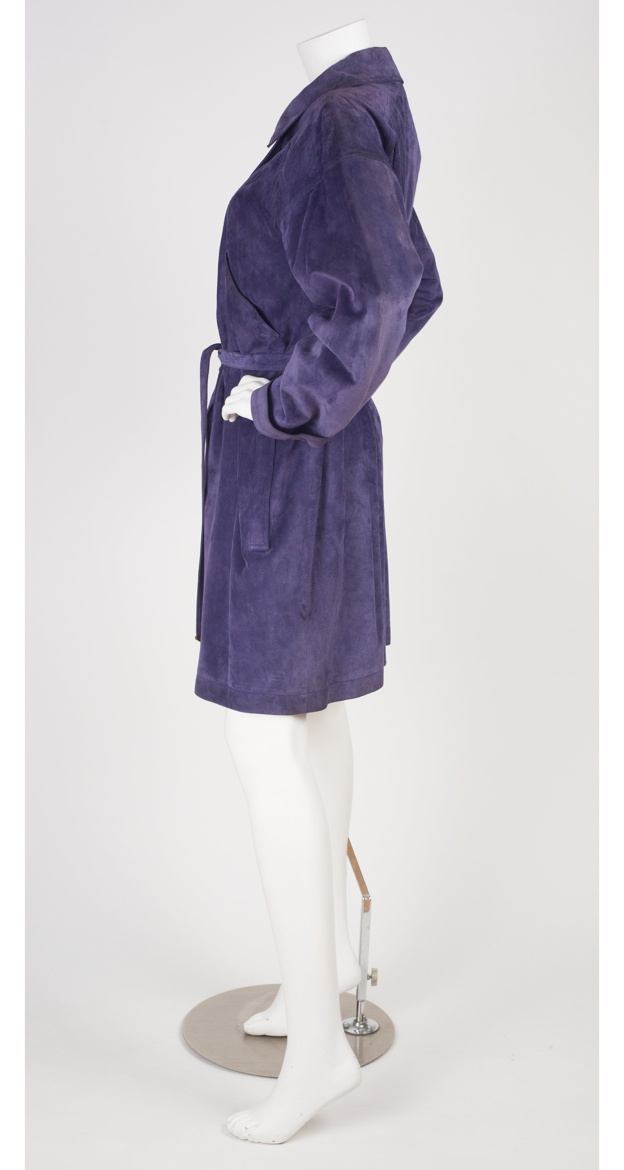 1980s Purple Suede Coat & Tassel Beret Set