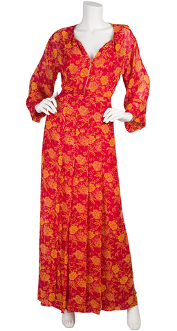 1976 Documented Red & Yellow Floral Chiffon Blouse & Skirt Set