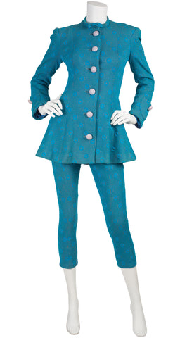 c. 1967 Documented Blue Polka-Dot Jacket & Pant Set