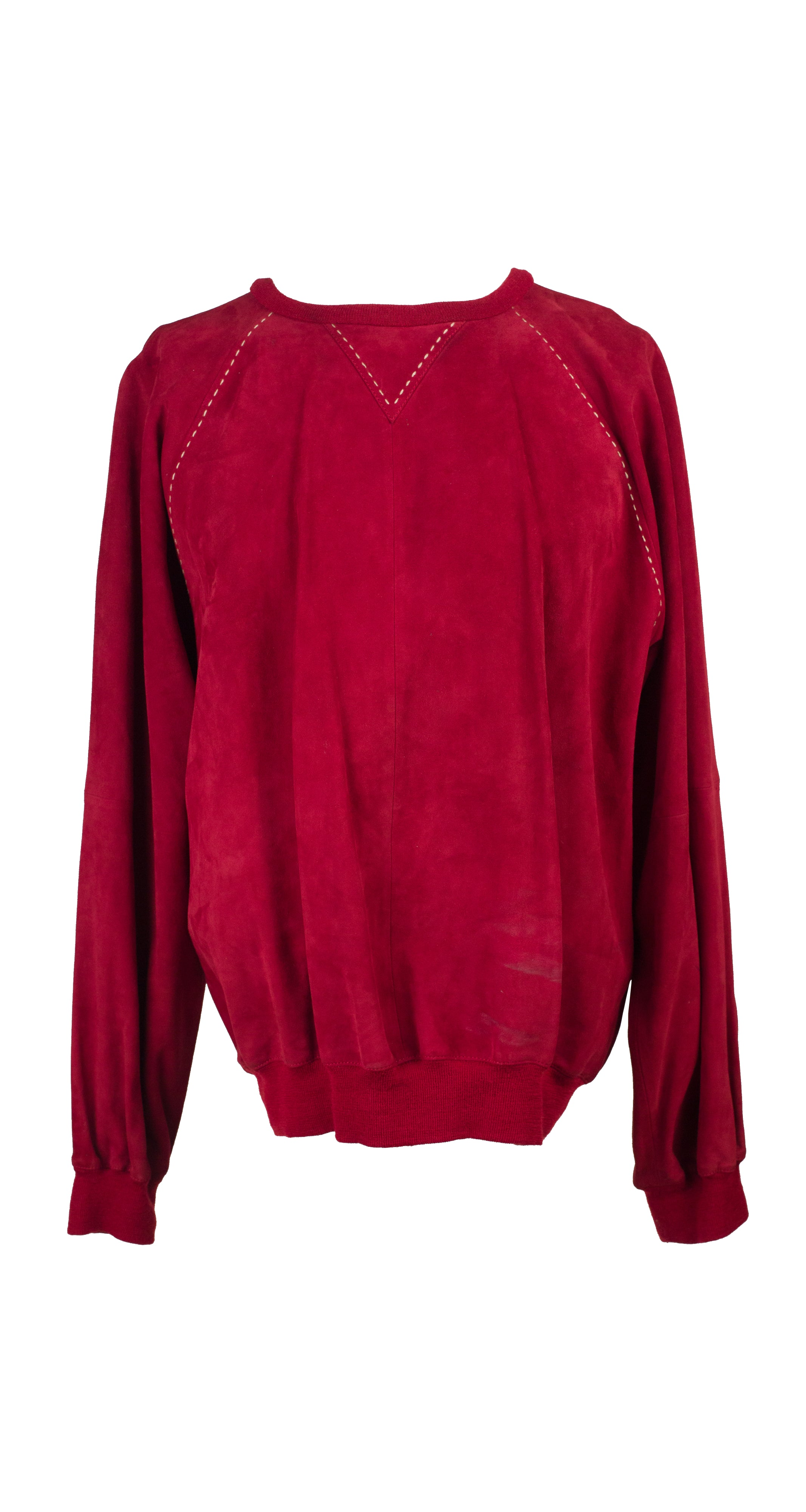 1980s Men's Red Suede Pullover Sweater