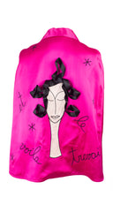 1990s Whimsical Hairdresser Hot Pink Satin Cape
