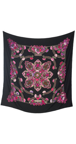 "1983 ""Anemones"" by Caty Latham 140cm Cashmere & Silk Shawl"