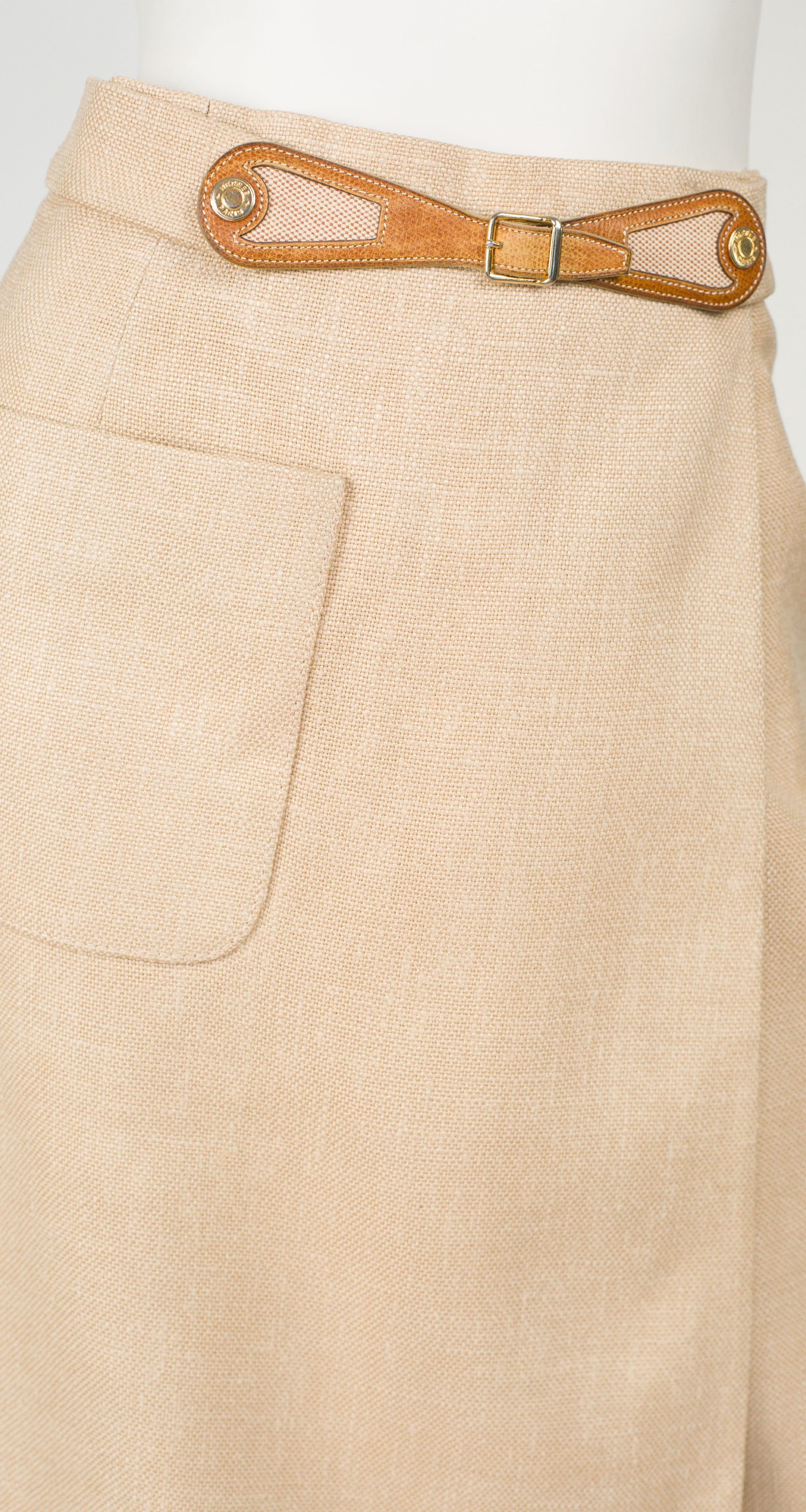 1970s Beige Leather Buckle Wrap Skirt