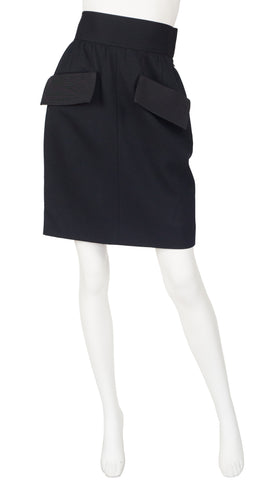 "1980s ""Le Smoking"" Black Wool Mini Skirt"