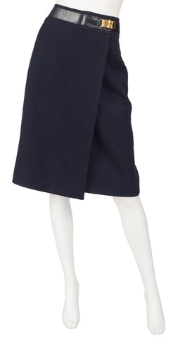 1970s Navy Blue Worsted Wool Leather Trim Skirt