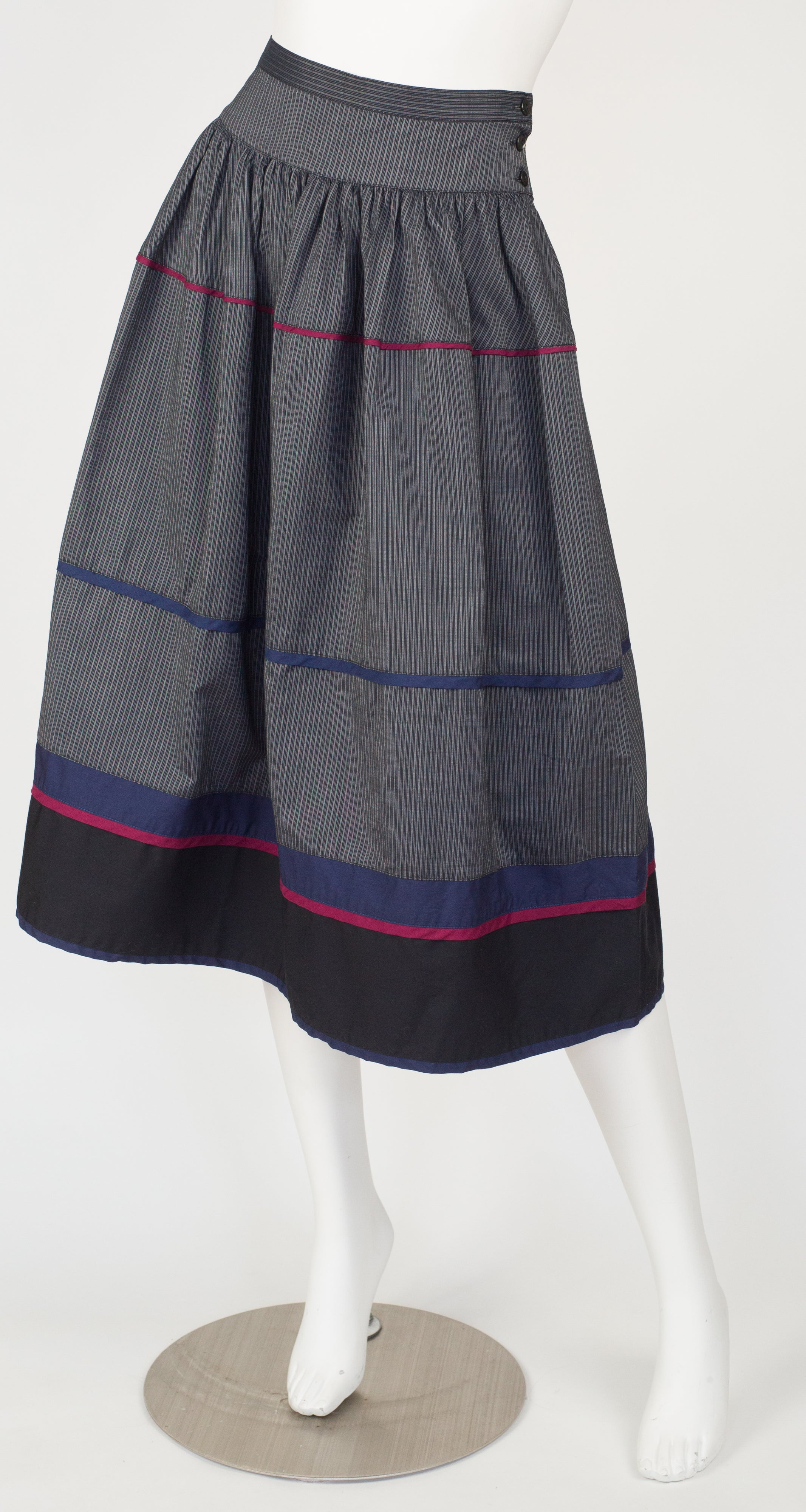 1982 S/S Documented Striped Cotton Skirt