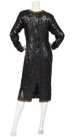 1980s Tuxedo Trompe L'oeil Black Sequin Evening Dress