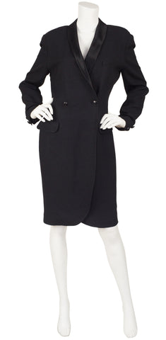 1980s Tuxedo Style Black Crepe Dress Coat