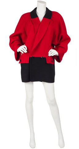 1980s Red & Black Color-block Wool Coat