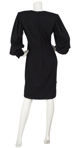 1980s Balloon Sleeve Black Wool Jersey Dress