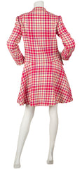1960s Couture Mod Pink Plaid Wool Coat