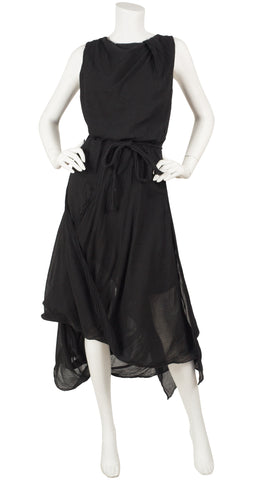 2000s Anglomania Asymmetrical Draped Black Cotton Dress
