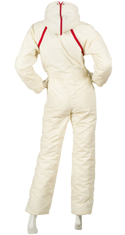 1970s Cream & Red Snow Bunny One Piece Ski Suit