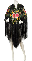1920s Embroidered Floral Black Silk Fringe Piano Shawl
