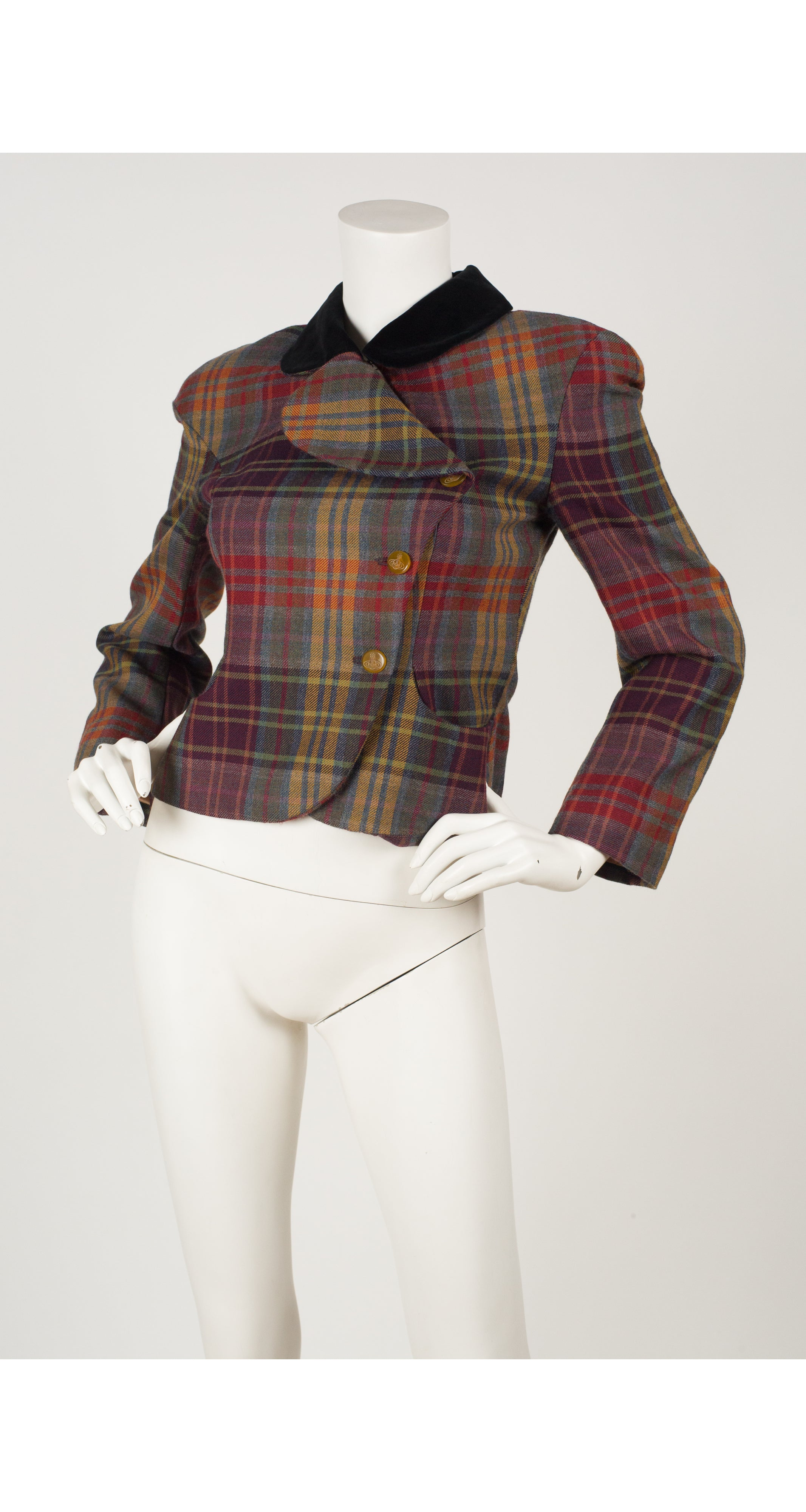 2000s Red Label Plaid Wool & Velvet Jacket