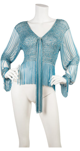 1971 Documented Blue & Silver Lurex Knit & Metal Chain Top
