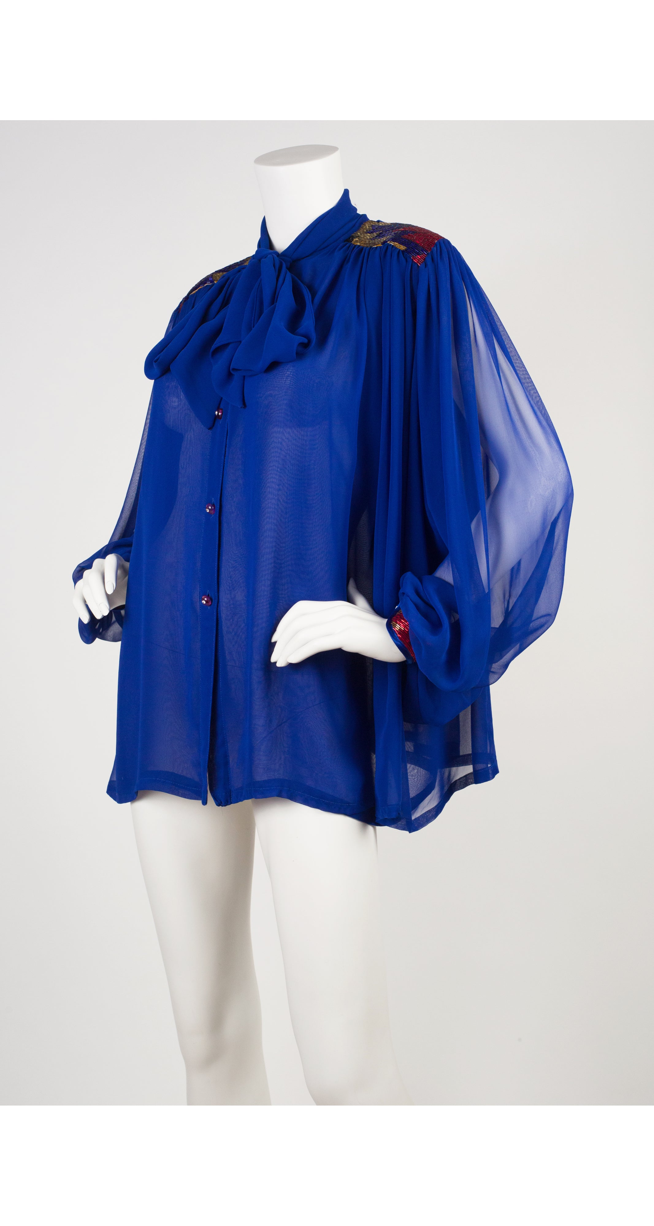 1980s Blue Chiffon Bugle Bead Balloon Sleeve Blouse
