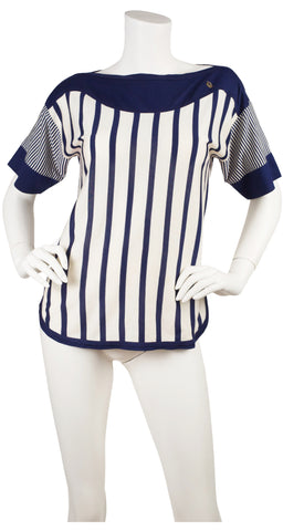 1970s Navy & White Striped Cotton Boatneck T-Shirt