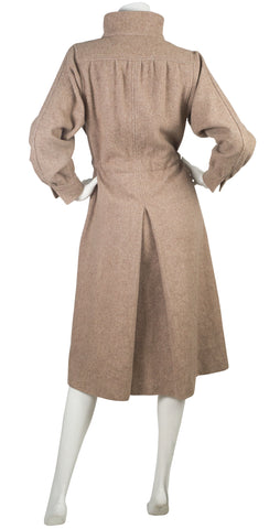 1970s Beige Wool & Canvas Drawstring Coat