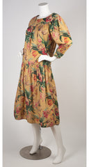 1982 S/S Tulip Print Beige Cotton Midi Dress