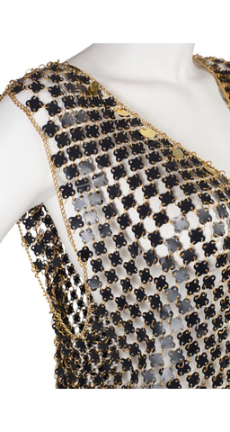 1970s Black & Gold Chainmail Evening Dress