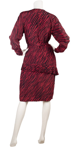 1980s Black & Red Striped Silk Wrap-Style Dress