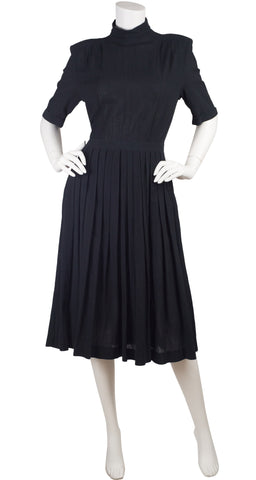 1980s Black Cotton Pleated Backless Dress