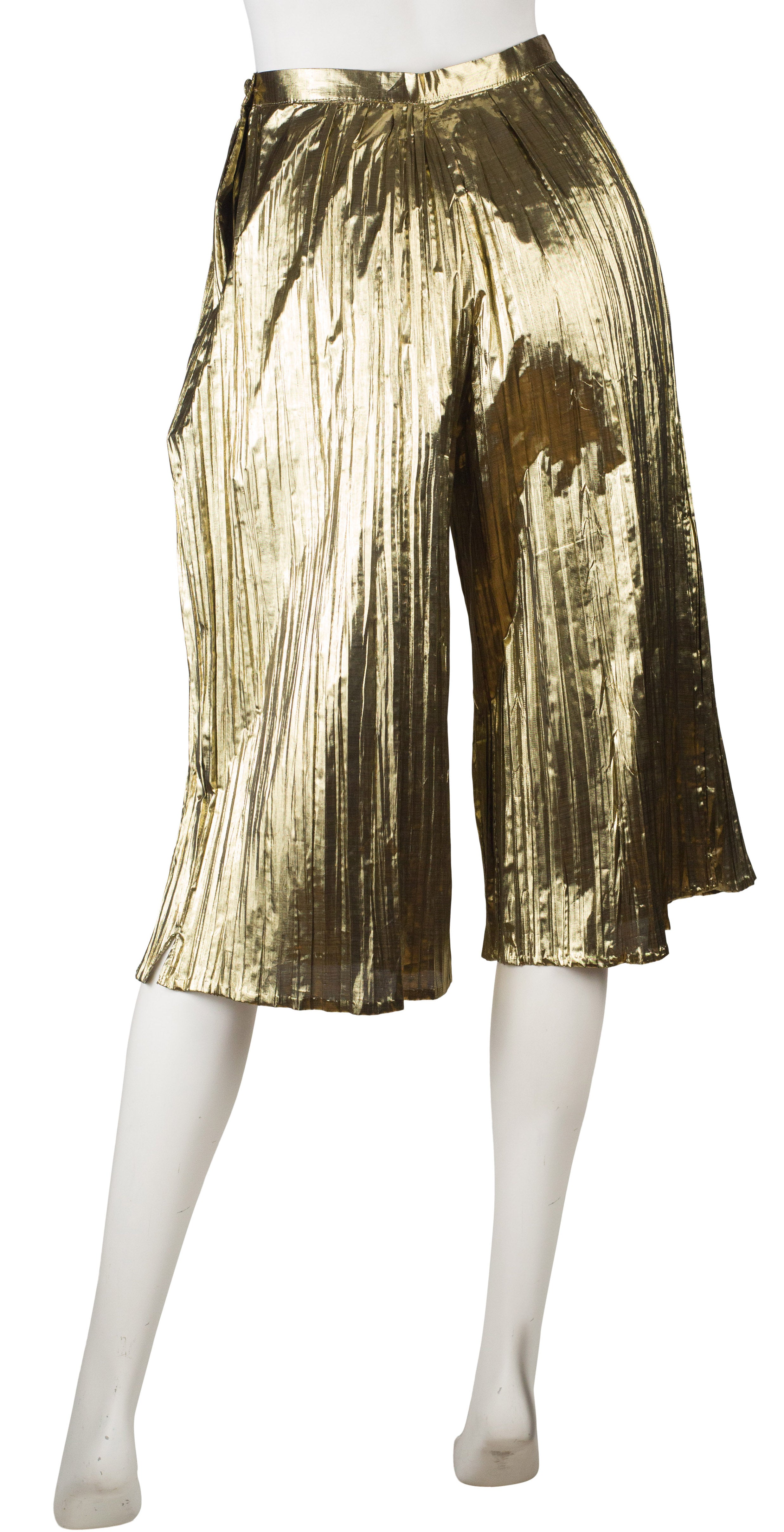 1980s French Gold Lamé Pleated Culottes