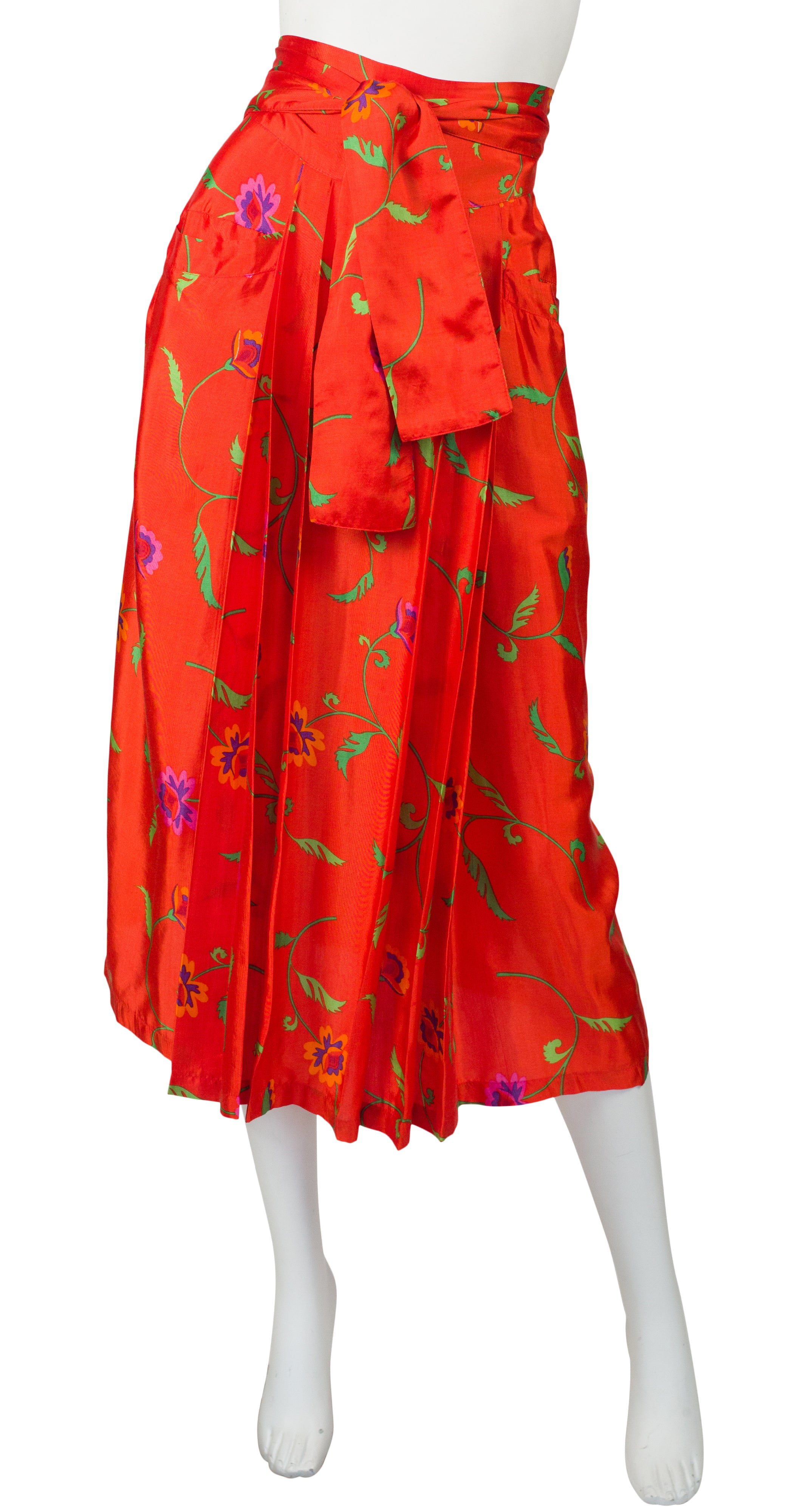 1978 S/S Documented Floral Blood Orange Rayon Wrap Skirt