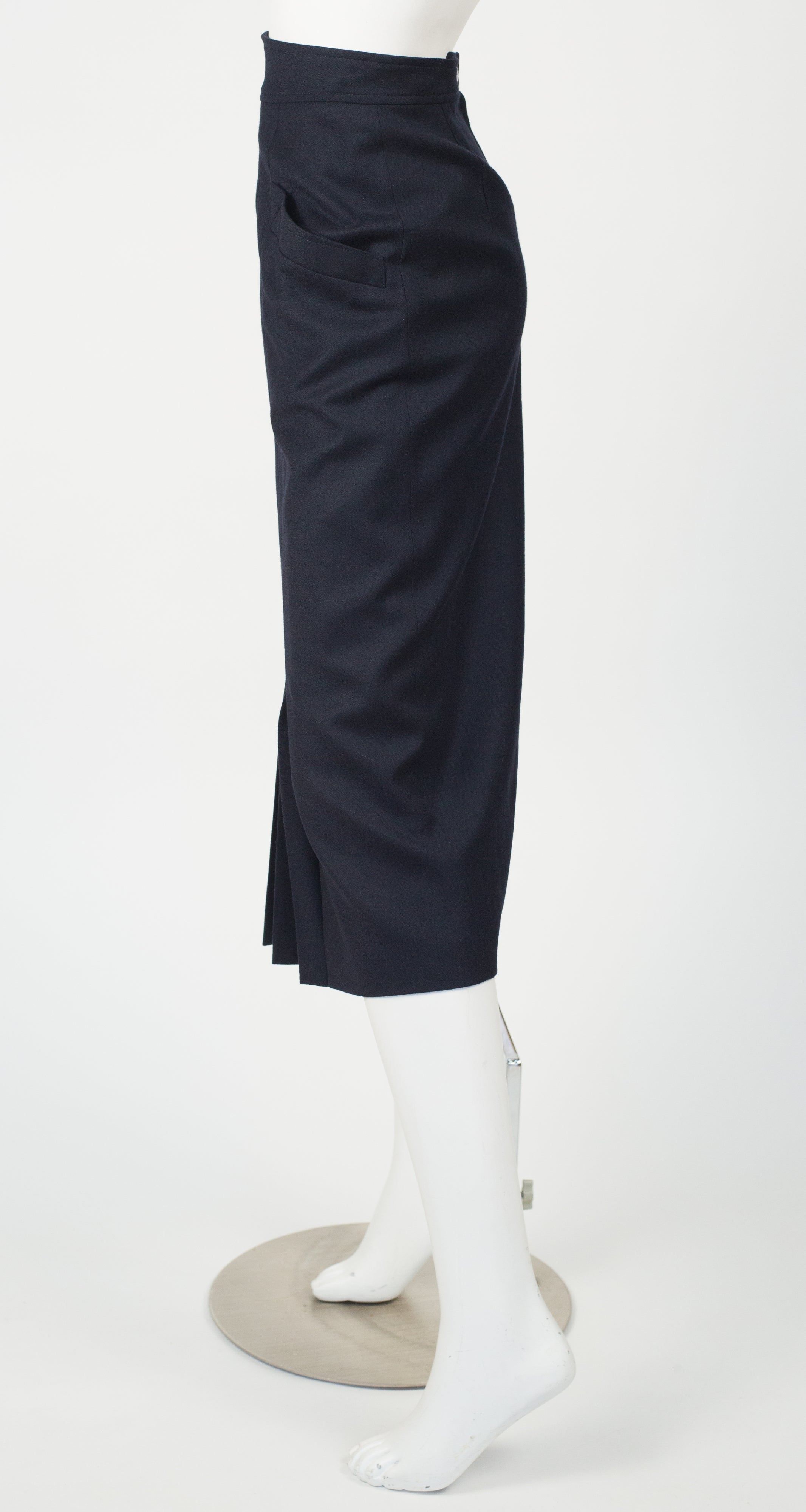 1980s Pleated Navy Wool Midi Pencil Skirt