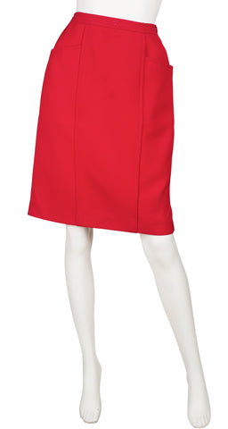 1980s Logo Red Worsted Wool Pencil Skirt