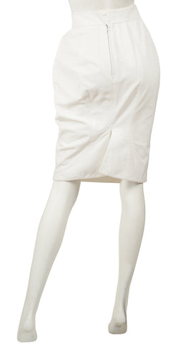 1980s White Cotton High-Waisted Pencil Skirt
