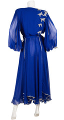 1980s Butterfly Appliqué Blue Chiffon Evening Dress