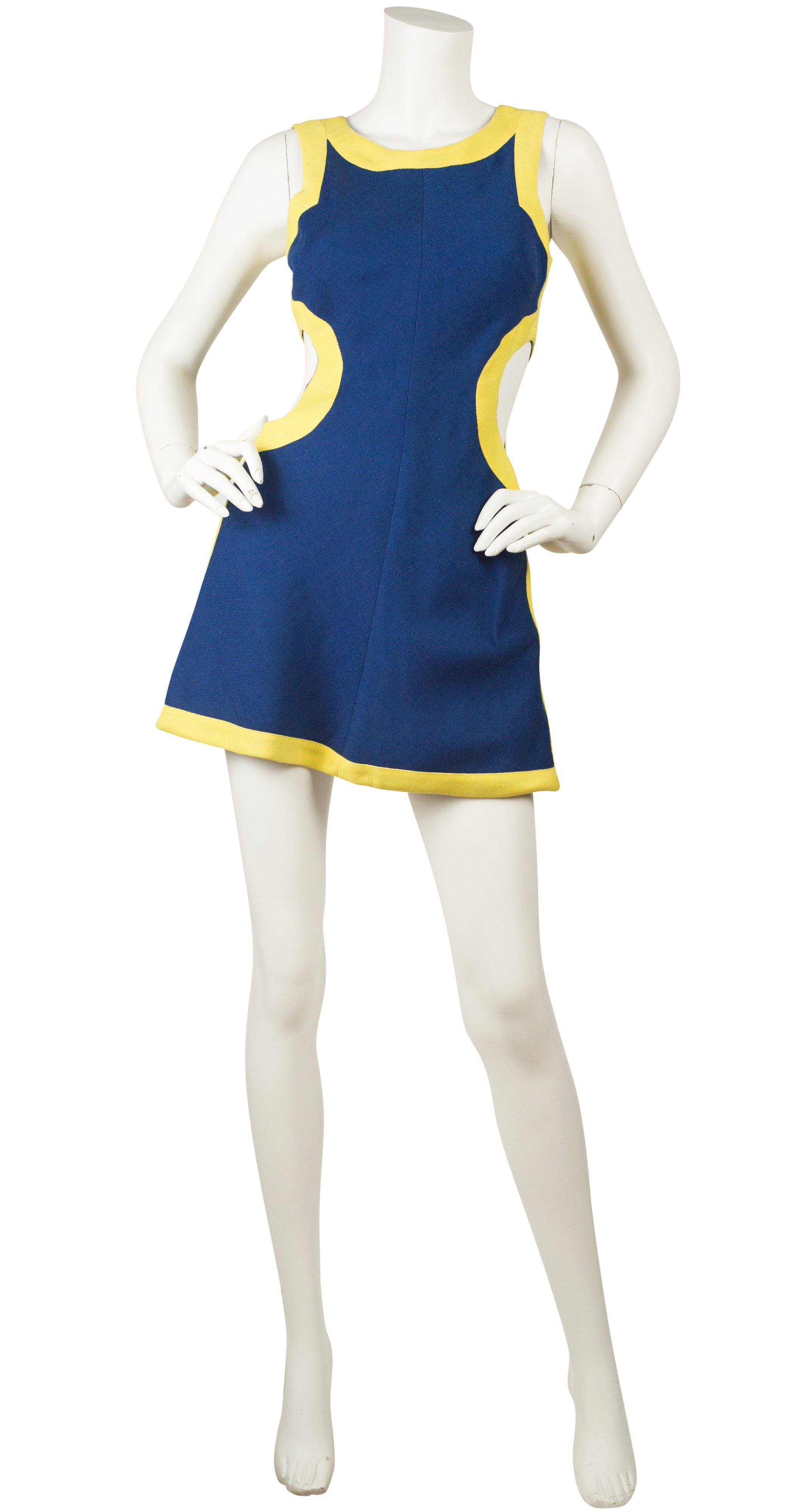 1960s Mod Blue & Yellow Cut-Out Mini Dress