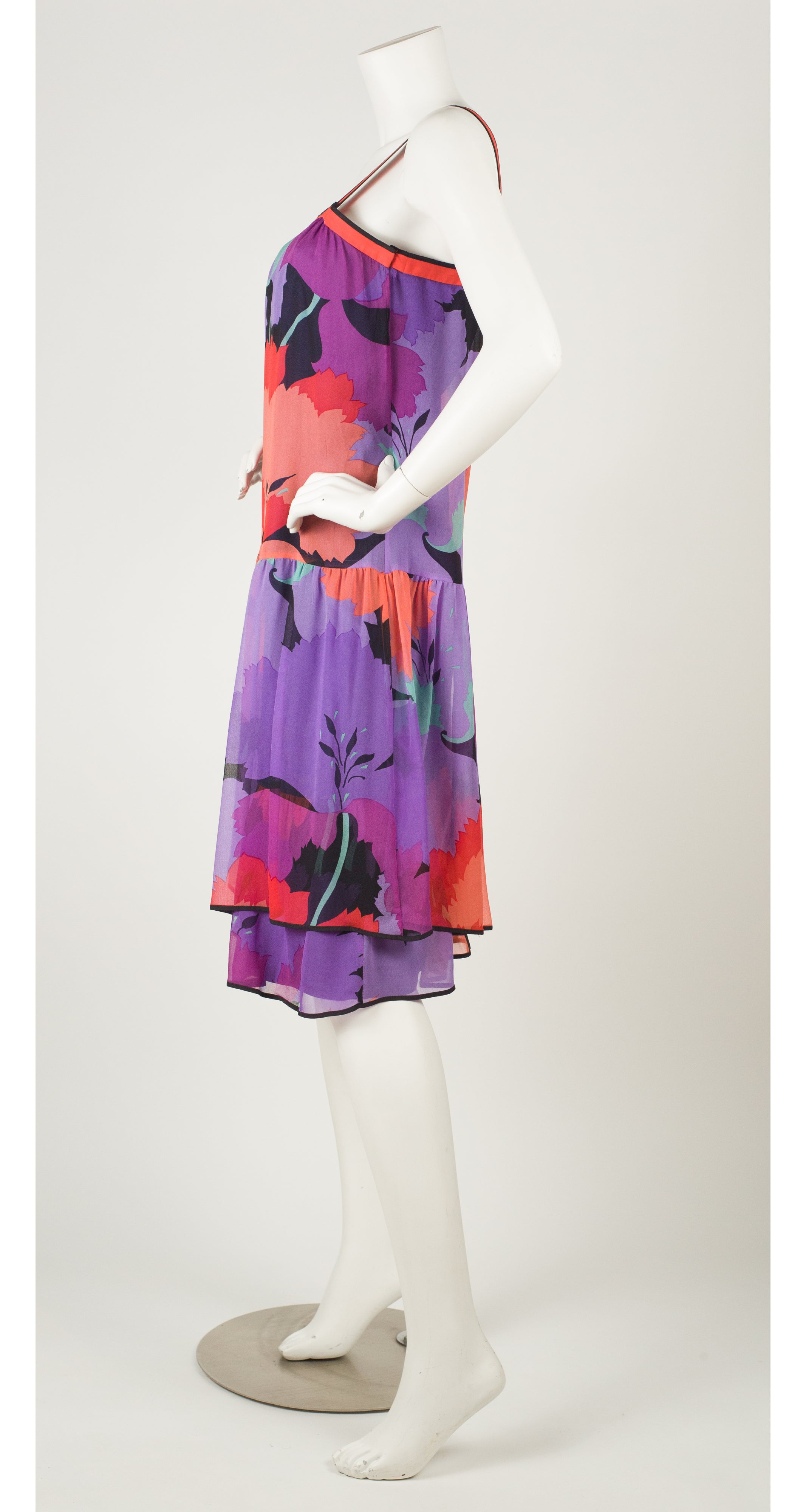 1970s Floral Silk Chiffon Drop Waist Dress