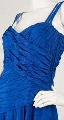 1980s Blue Viscose Moire Evening Dress