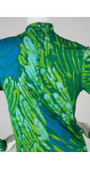 1970s Green & Blue Feather Print Silk Jersey Dress