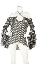 "2002 S/S ""The Dance of the Twisted Bull"" Polka-Dot Silk Chiffon Blouse"