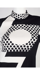 1960s Black & White Op Art Jersey Dress