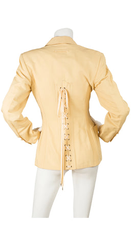 1980s Iconic Butterscotch Linen Corset Jacket