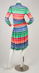 1973 S/S Documented Zig-Zag Knit Sweater & Skirt Set