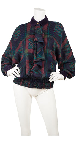 1980s Plaid Jacquard Silk Ruffle Blouse
