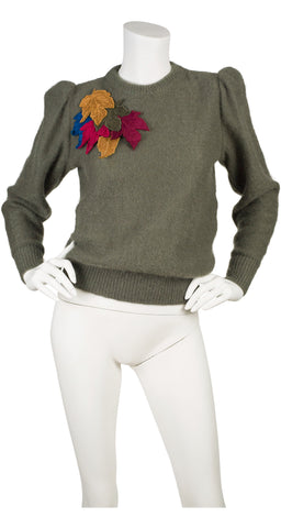1980s Leaf Appliqué Sage Mohair Sweater
