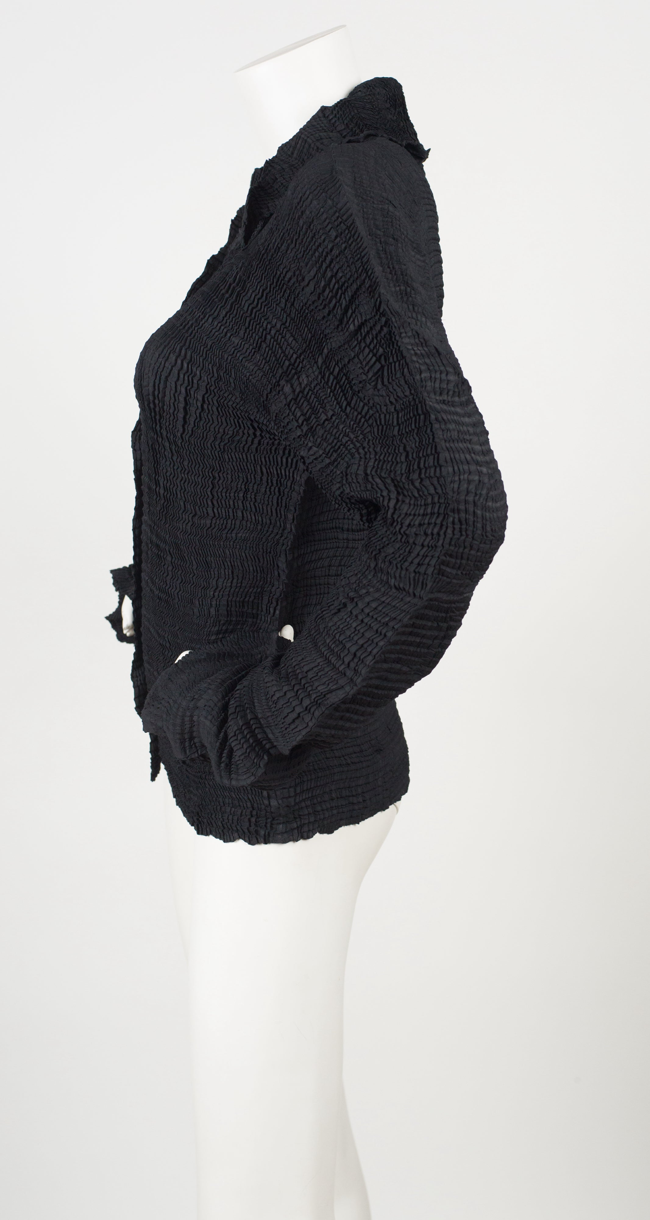 1990s Black Pleated Sculptural Blouse w/ Extra Long Sleeves